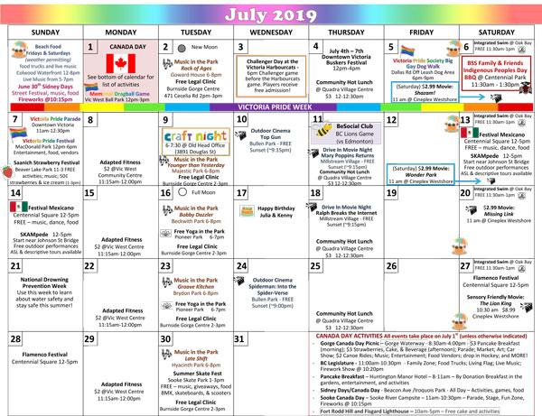 Pride Month Calendar 2019.July Calendar Beconnected Support Services